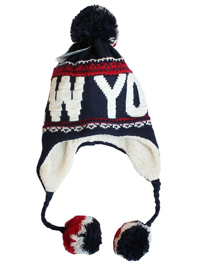 8cc2efe567b New York Winter Pom Pom Fleeced Warm Embroidery Beanie Hat - Navy White Red  - CF120CV6T03 - Hats   Caps