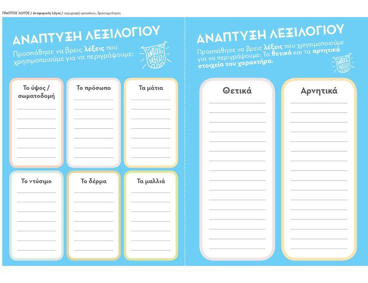 Δραστηριότητες ανάπτυξης λεξιλογίου – Περιγραφή προσώπων