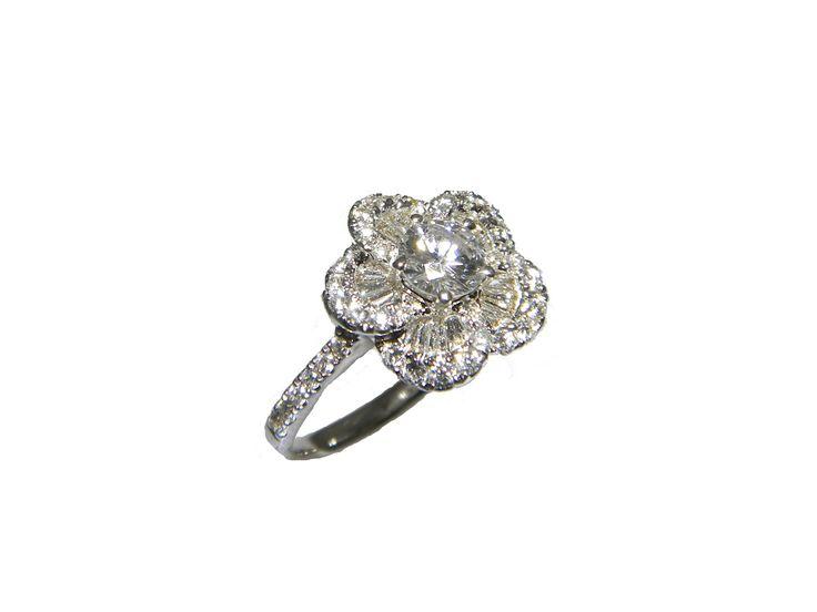 0.37ct Round Brilliant Diamond in Flower Cluster Ring