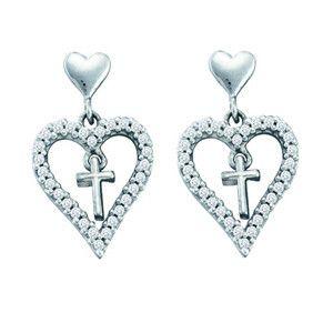 1/3 Carat Diamond 14k White Gold Cross Heart Dangle Earrings