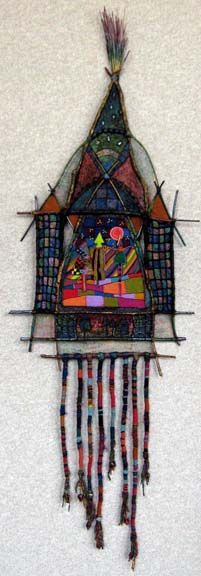 Places I will Never See Mixed Media :: Adirondack Weaver (sticks, paper, wire mesh, paint, pastel, yarn, beeswax & pine resin Huichol yarn, bead painting)