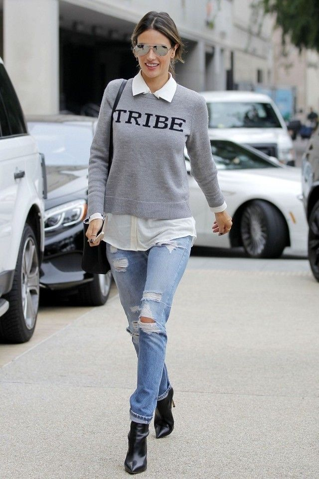 Look: Tricot Cinza + Jeans   Looks Inspiração