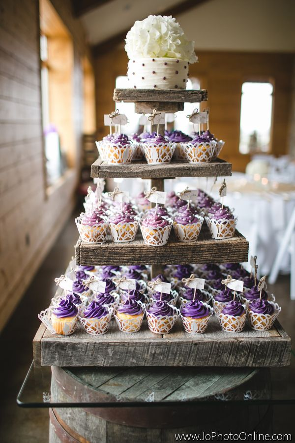 Rustic Cupcake Stand - Cupcakes - Cake Alternatives - Wedding Ideas - Farm Wedding - Knoxville TN - Flowers for cupcakes - Wood slice - Barn Wood - Purple - Ivory - Burlap and Lace - www.lisafosterdesign.com