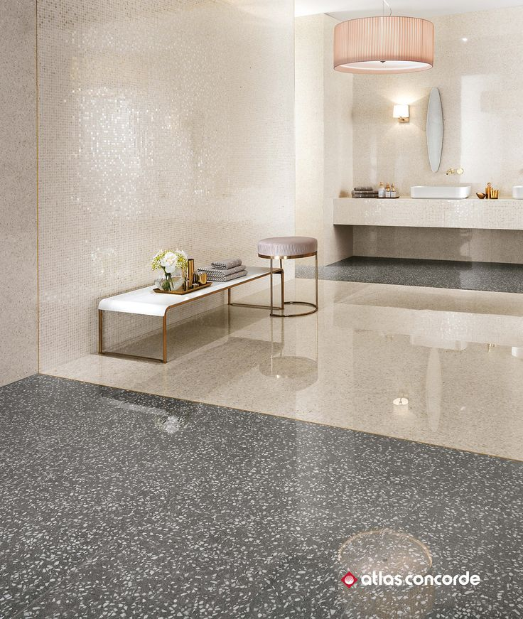 Coordinated wall and floor tiles evoking venetian terrazzo for luxury bathrooms bathroom bathroomdesign