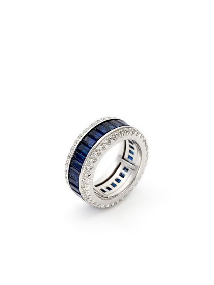 Blue Heaven! Baguette Cut Sapphire & Diamond Band Ring by Favero