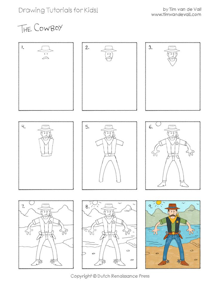 draw a cowboy tutorial for kids