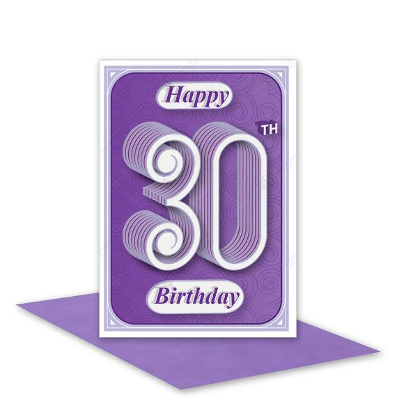 30th Happy Birthday card by stuARTconcepts available on Etsy #handmade #30th #birthday #cards #typography #lilac #purple