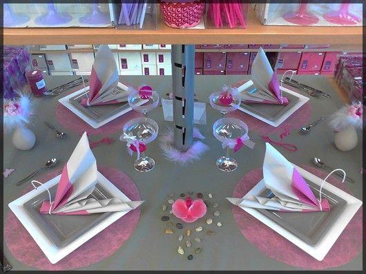 Table de f te rose et gris pour mariage ou anniversaire d couvrez toutes no - Idee deco table de fete ...