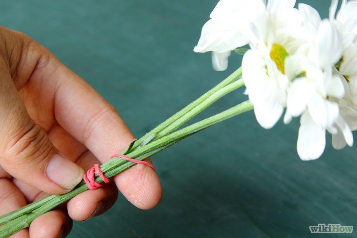 Imagen titulada Dry Flowers Step 3 3 Ata el extremo de cada ramo con una goma elástica. Envuelve una goma elástica grande alrededor de dos o tres tallos, envuélvela varias veces alrededor de todo el ramo, luego termina envolviéndola alrededor de otros dos o tres tallos.[7] Los tallos se reducirán a medida que se secan, pero la goma elástica los mantendrá unidos. La goma elástica no debe presionar tanto que doble el tallo, ya que esto puede producir bolsas húmedas y pudrimiento. Si esto te…