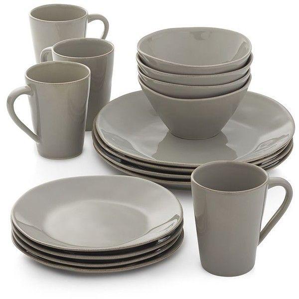 Grey Kitchen Sets: Crate & Barrel Marin Grey 16-Piece Dinnerware Set (800 DKK