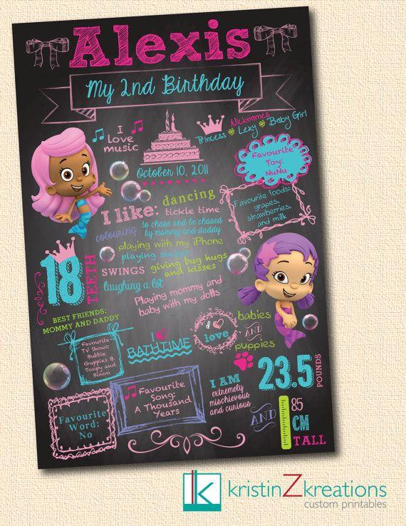Custom Poster/Chalkboard Design (Bubble Guppies-girl)- digital file YOU PICK SIZE on Etsy, $25.00