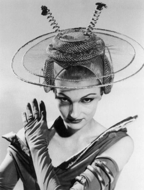 Out of This World - Moon Bridal Hat by Bettmann, 1956 - (space age fashion, atomic era, mid century modern, style)