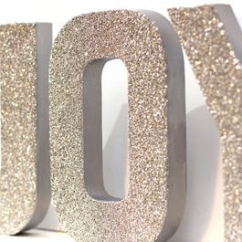 buy the cardboard letters from hobby lobby cover with glitter