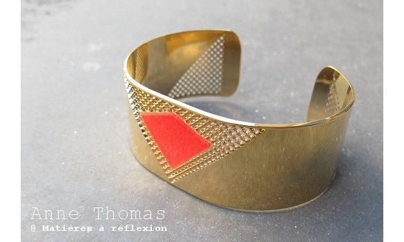 Anne Thomas manchette Lucky Star rouge #annethomas #manchette #cuff #neonred #rougefluo
