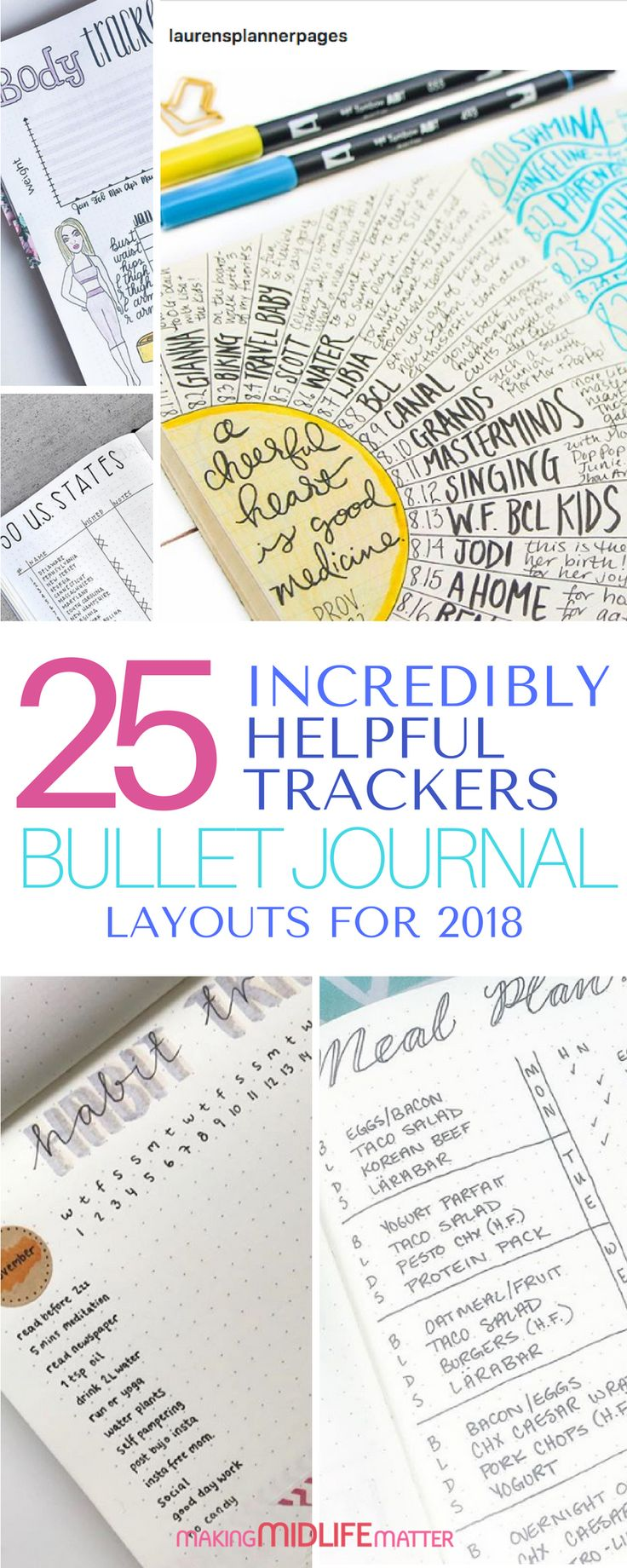 Need some tips and inspiration to get yourself organized and track your life in 2018? Here are 25+ bullet journal layouts, spreads and collections to help you. #bujo #bulletjournal #journal via @makingmidlife