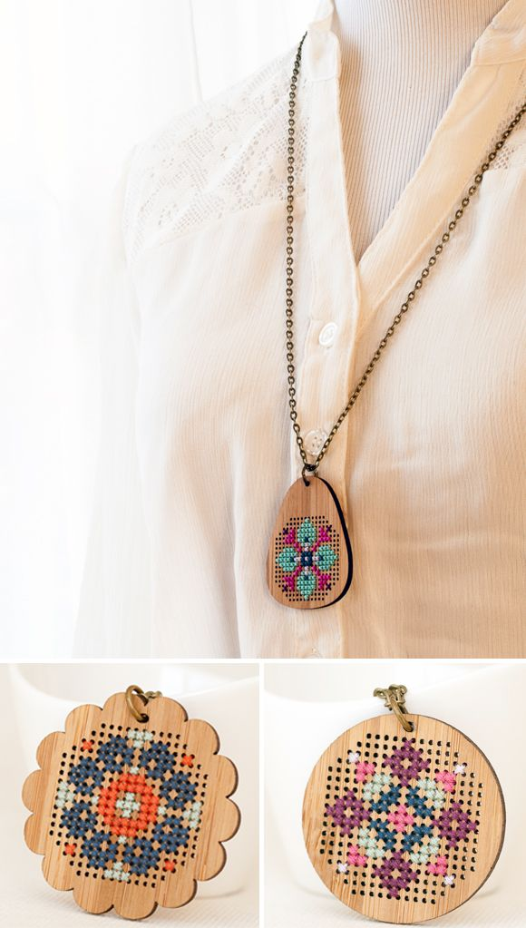 Cross stitch wood pendants - diy kit