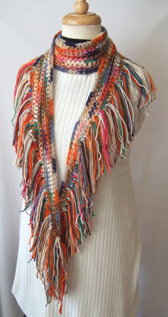 Items similar to Multicolored Southwestern Crochet Scarf, Handmade Original, Wearable Art on Etsy