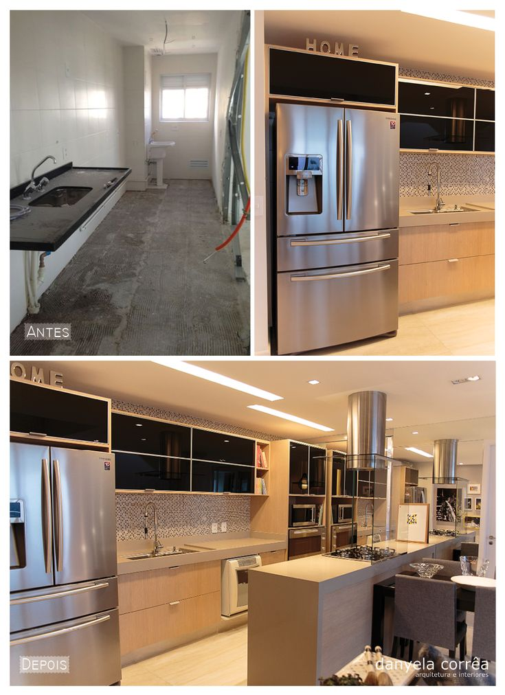 Antes de Depois de cozinha integrada com geladeira em inox, forno embutido, armários superiores com vidro preto, pastilhas coloridas na parede, piso de porcelanato, armário inferior com mdf amadeirado. Arquiteta Danyela Corrêa
