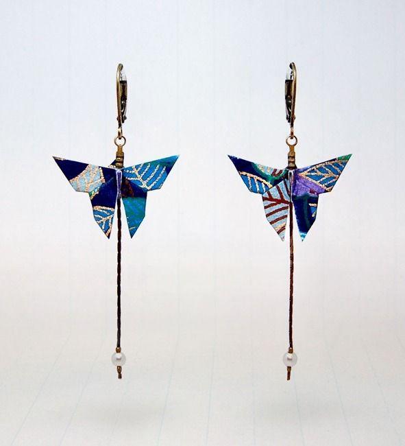 BOUCLES D'OREILLES ORIGAMI MATA MORPHOSE : Boucles d'oreille par noshi