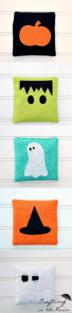 These are halloween bean bag patterns, but I think they would be cute sofa pillows.