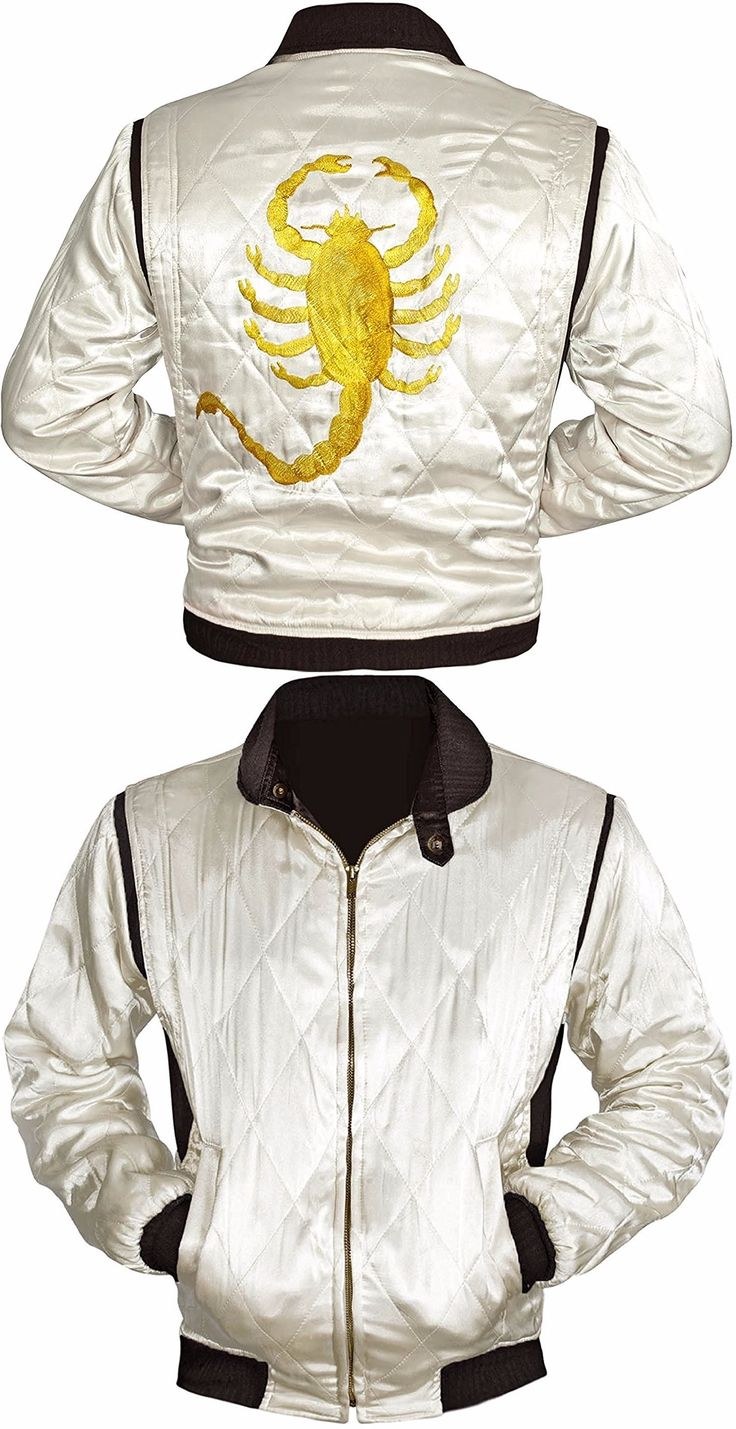 We at Rasouk an online store, presenting the terrific Ryan Gosling Drive Jacket having spectacular and stylish Scorpion logo on back. Avail this electrifying Ivory jacket at very affordable rates.