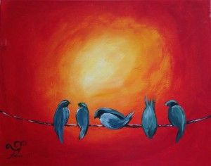 You can paint this September 12 at The Loft Studio in Downtown Langley BC,  ZealousArt, Fort Langley, birds on a wire