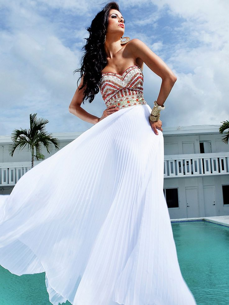 Incomparable Strapless Floor Length Jeweled Bust and Pleated White Chiffon Evening Dress