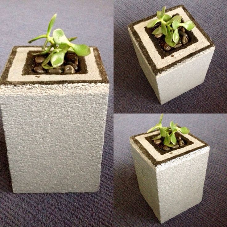 Carved and painted Hebel stone pot plant