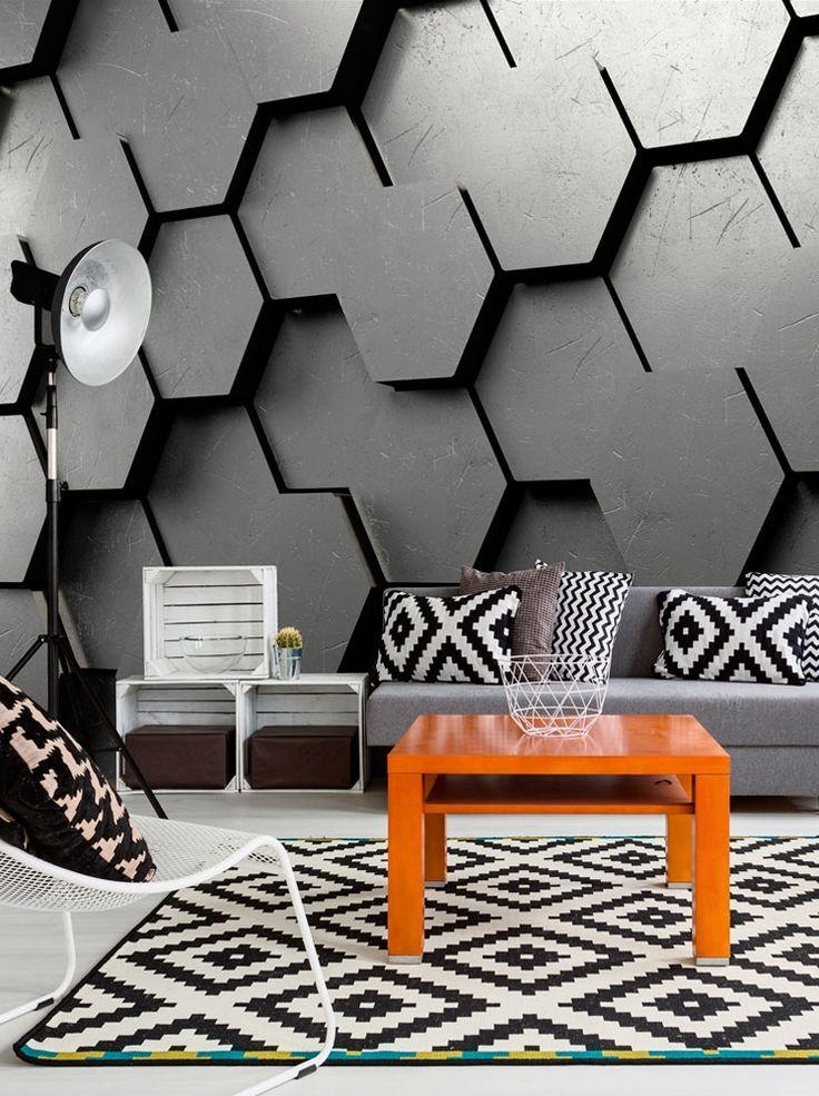 """❑ ❒ Fototapete """"Black Gate"""". Motive der Foto Tapete: Textur, Muster, geometrische Figur, Metall, 3D. Perfekte Deko Idee für industriellen Wohnstil ❑ ❒"""