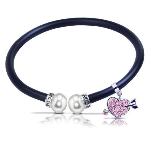 "7.5"" Sterling Silver Heart ""Off the Cuff"" Crystal Bracelet at http://www.pearls.com"