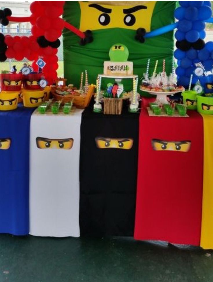 Ninjago table decorations..so easy with some crepe paper