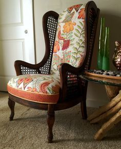 themegan funky cane wingback chair by on etsy
