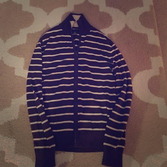 Men's H&M  striped zip up light jacket Brown and white striped men's zip up H&M sweater/jacket H&M Shirts Sweatshirts & Hoodies