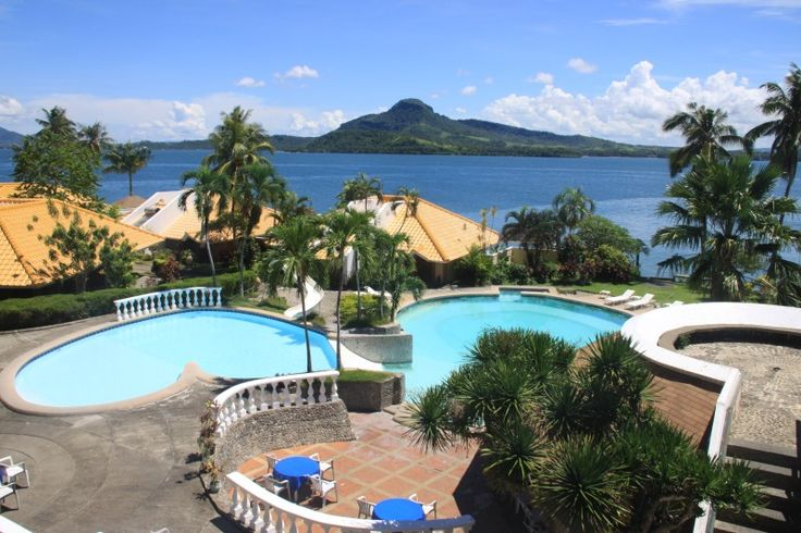 Leyte Park Hotel Tacloban City, showing its pools and villas with Mount Danglay at the background  http://exploretraveler.com/ http://exploretraveler.net