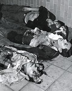 Horrific images of victims of the Tlatelolco massacre in Mexico City in 1968
