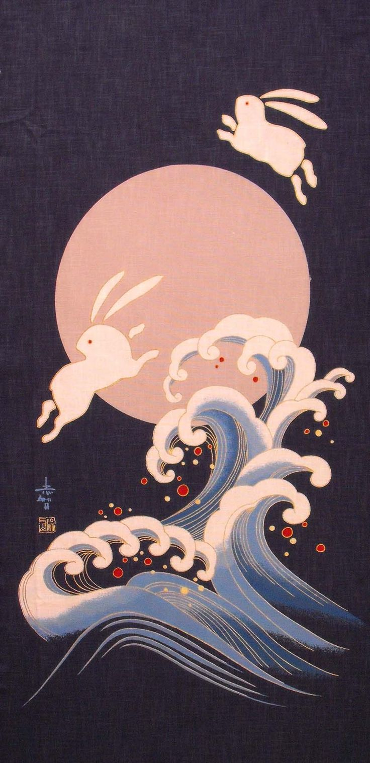 Japanese fabric panel. The Japanese believe you see two Usagi (rabbit) in the moon pounding mochi (pounding rice), instead of a man in the moon.