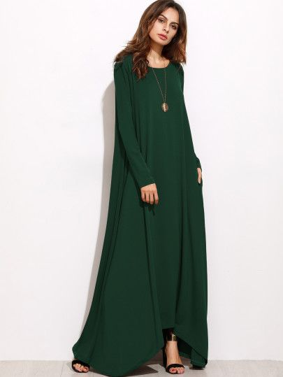Fabric: Fabric is very stretchy Season: Spring, Fall Type: Tshirt Pattern Type: Plain Sleeve Length: Long Sleeve Color: Green Dresses Length: Maxi Style: Casual Material: 95% Polyester 5% Spandex Neck