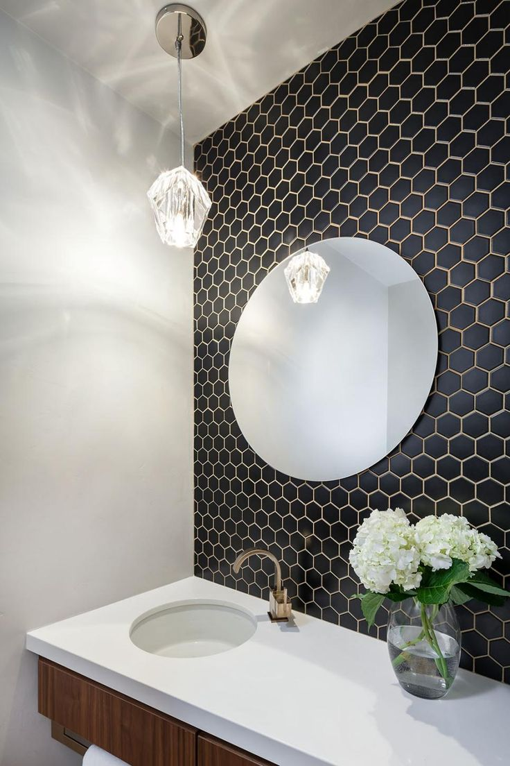 powder bath- but full mirror side to side...tile behind....could do rainforest tiles at Anna's bath sink vanity too....