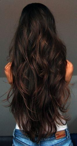 Beautiful long Curly Brunette Hair.