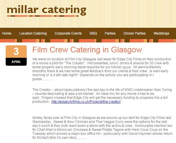 March 26, 2014 - catering for The Creator film crew of 35 in Glasgow