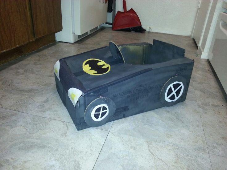 Batman car made out of a cardboard box