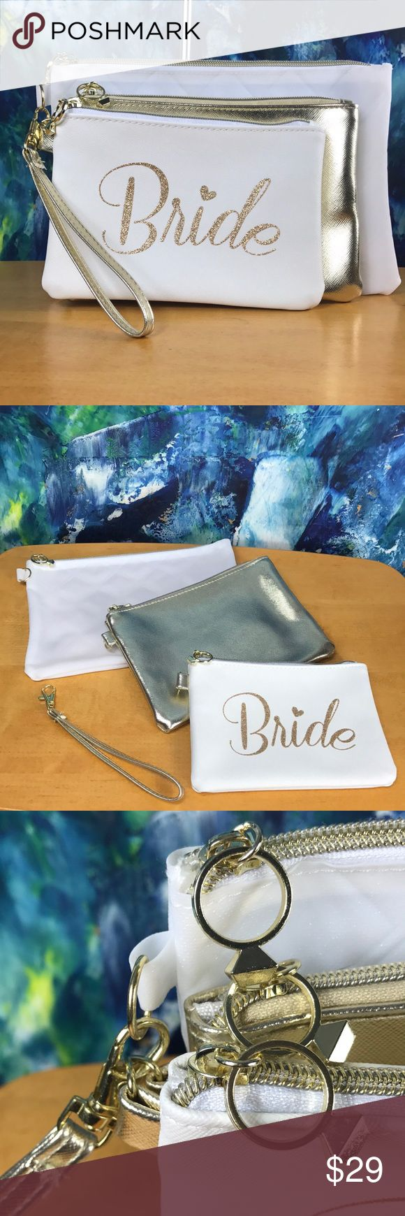 Bride 👰🏻 Cosmetic Bag Clutch Wristlet Trio Set For the Bride! This cute set would make for an excellent gift for the bride-to-be! A great place to store all of the essentials and maybe a few 'emergency' items for the big day! ✨Pre-Pack with the bride's favorite beauty items and give it to her at her bridal shower, bachelorette party or rehearsal dinner! Great Accessory for the Honeymoon! 🦋Adorable 'Diamond Ring' Zipper Pull Detail 🦋Small Bag has 3 Interior Credit Card Slots  🦋Wristlet…