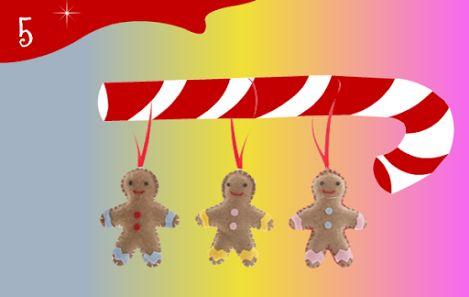 Jour 5 : hum...3 petits bonhommes en pain d'épice à croquer... euh non... à coudre et à accrocher dans le sapin !