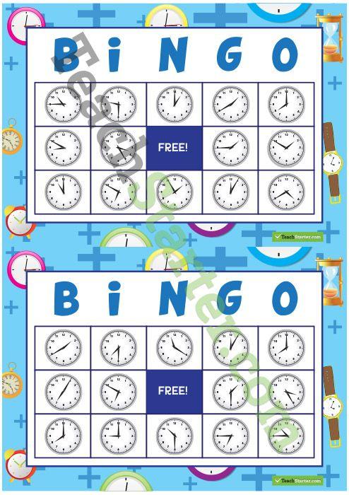 Sixteen different bingo cards using analogue clocks.