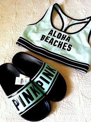 Victoria's Secret Slides Shoes Logo Aqua Mint Sandals Bralette Aloha Beaches M L #beachsandals