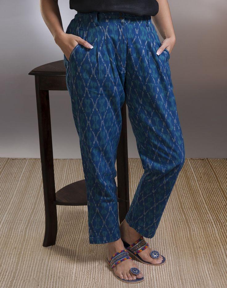 Cotton Ikat Pleats Pant-Indigo: Buy Fabindia Cotton Ikat Pleats Pant-Indigo Online at Fabindia.com – Fabindia.com