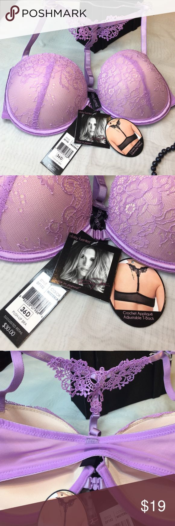 Daisy Fuentes push-up bra NWT NWT lavender color front closure. Push-up with crochet appliqué adjustable T-Back 😍 Daisy Fuentes Intimates & Sleepwear Bras