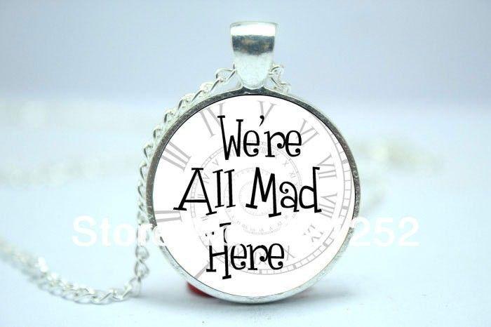 Мы все здесь сумасшедшие, Спираль часы фон, Алиса в стране чудес ожерелье стекло кабошон ожерелье