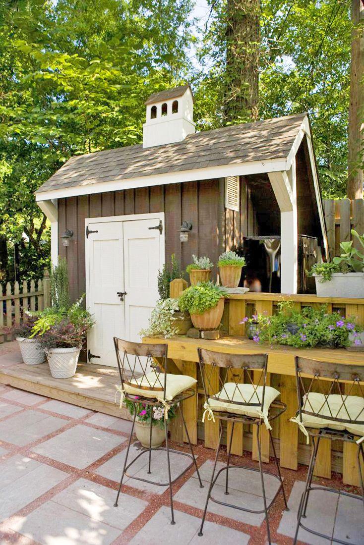 Garden shed: Backyard Sheds, Design Gardens, Gardens Decor, Gardens Design Ideas, Pools Houses, Interiors Design, Outdoor Spaces, Outdoor Bar, Gardens Sheds