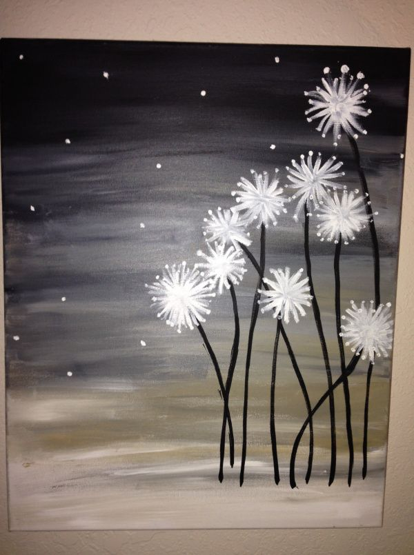 Dandelions. DIY Canvas Painting.  So pretty!